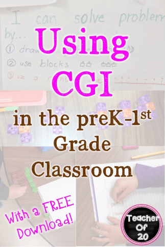Are you ready to try CGI in your preschool, Kindergarten, or 1st grade classroom? Then you're going to love this blog post! It has practical tips you can start today, a freebie to sample, and there's even a product for you to buy so you're set for the entire school year! Click through to learn more!