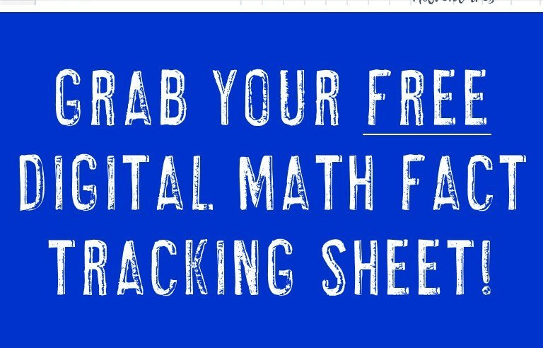 FREE Digital Math Fact Tracking Sheet