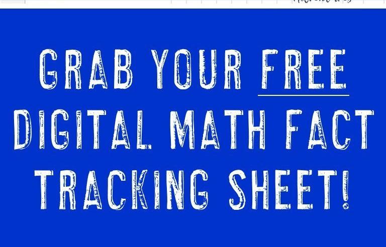 FREE Digital Math Fact Tracking Sheet