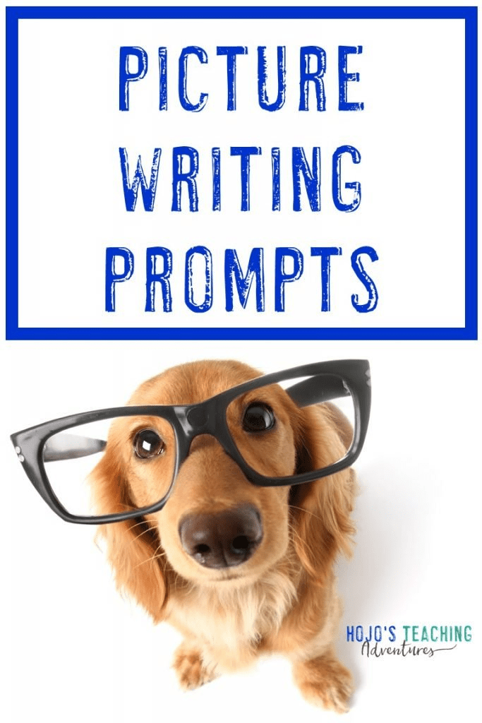 """dog wearing large glasses, looking right at the camera - with text saying """"Picture Writing Prompts"""""""