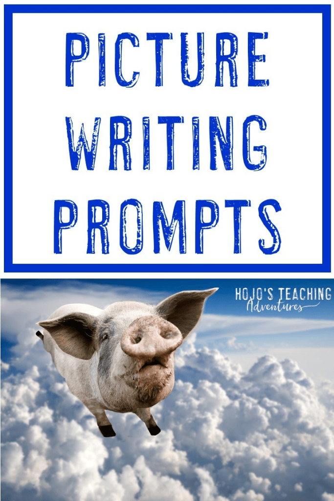 "flying pig with the text ""Picture Writing Prompts"""
