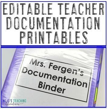 "Click here to purchase ""Editable Teacher Documentation Printables"" from Teachers Pay Teachers."