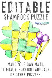 Click here to buy an EDITABLE shamrock puzzle for any topic!