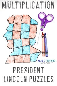 Multiplication President Lincoln Puzzles - click to buy!