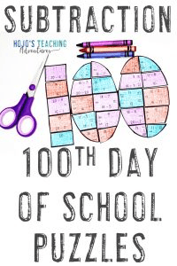 Subtraction 100th Day of School Math Activity Puzzles