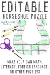 Click to buy EDITABLE St. Patrick's Day horseshoe puzzles!