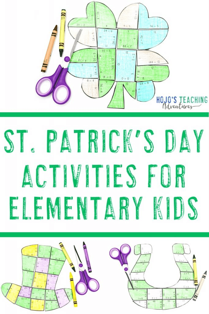 St. Patrick's Day Activities for Elementary Kids - shamrock, leprechaun hat, and horseshoe puzzles