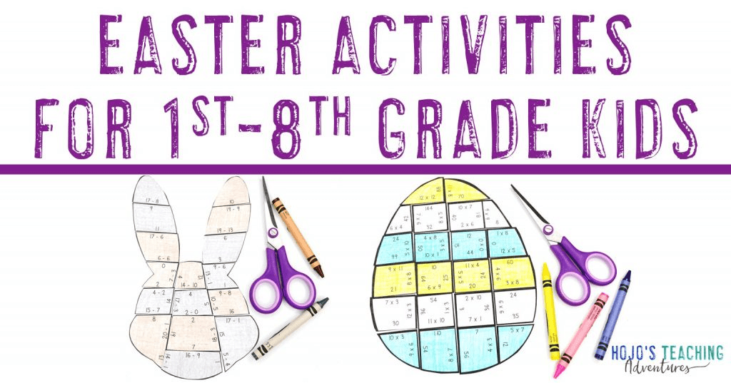 Easter Activities for 1st-8th Grade Kids - with pictures of bunny and egg puzzle