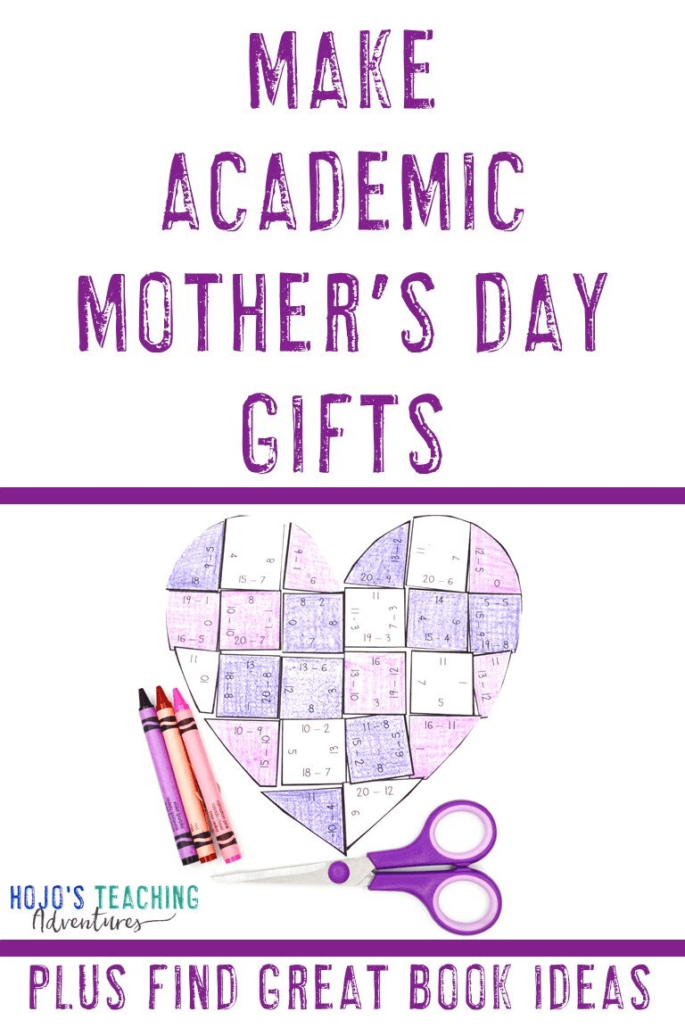 """Make Academic Mother's Day Gifts"" with a heart math puzzle pictured"