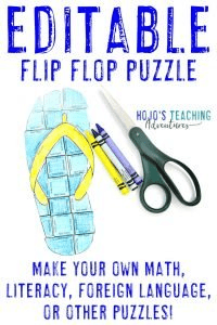Click here to buy your own EDITABLE flip flop puzzle activity!