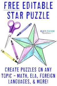 FREE Editable Star Puzzle with image of the puzzle in action