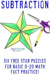 Click to download your own FREE subtraction star math activities!
