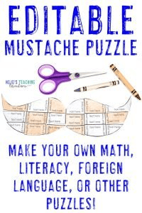 Click to buy your own EDITABLE mustache puzzle!