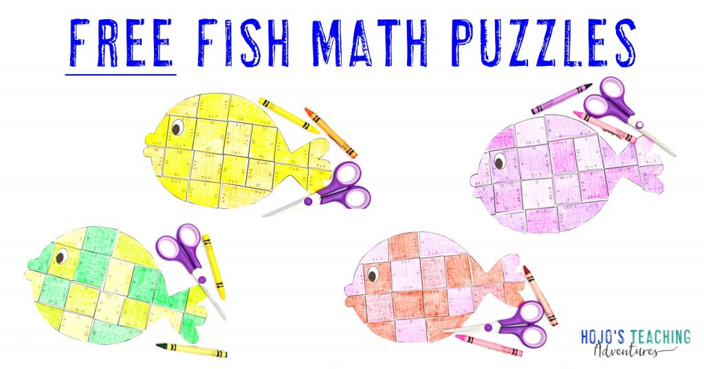FREE fish math puzzles - with addition, subtraction, mulitplication, & division fish shown