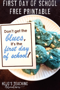 free printable with a plate of blue cookies
