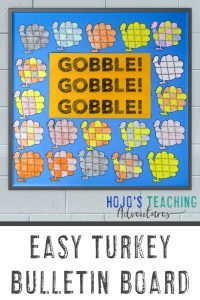 """Easy Turkey Bulletin Board - """"Gobble! Gobble! Gobble!"""" with turkey puzzles shown"""