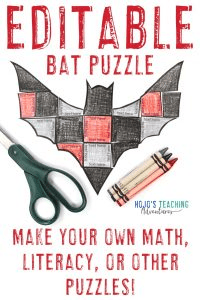 Click to buy an EDITABLE bat activity puzzle to make your own activities on ANY topic!