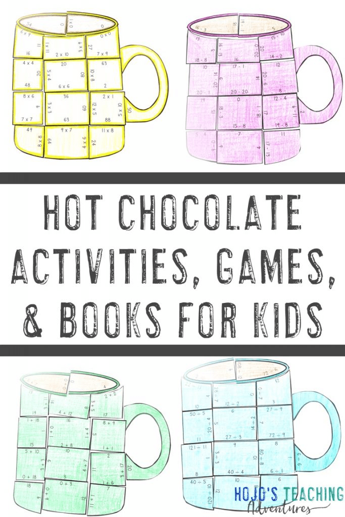 hot chocolate activities, games, and books for kids with four hot cocoa mugs