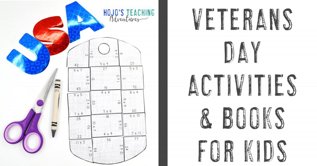 Veterans Day Activities & Books for Kids with a dog tag puzzle pictured