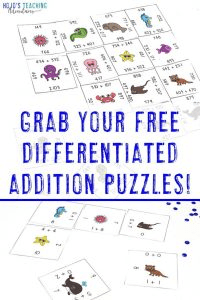 Click to grab your FREE differentiated addition math puzzles