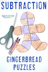 Substraction Gingerbread Man Puzzles