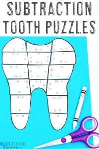 Click here to get your SUBTRACTION tooth puzzles to use as a dental health month activity!