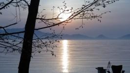 美笛キャンプ場の景色、支笏湖