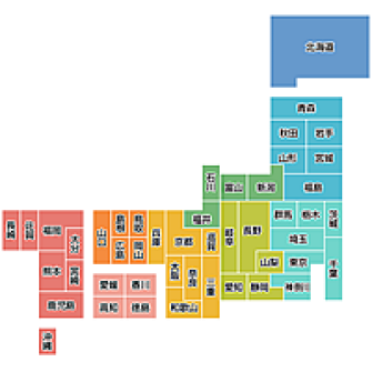 都道府県が書いてある日本地図