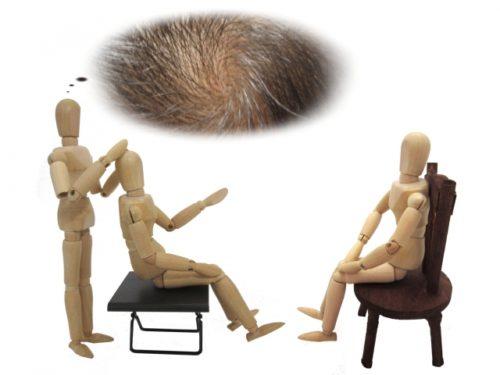 立って患者の頭をみている木の人形とカウンセリングをしている木の人形、頭皮を見られている木の人形
