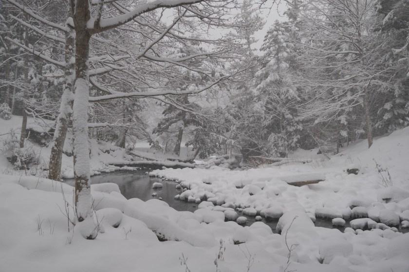 新雪の滝口付近