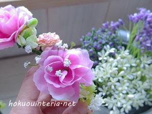 造花で髪飾りの作り方