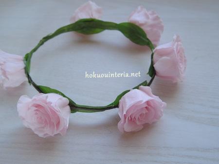 プリザーブドローズで作る花冠