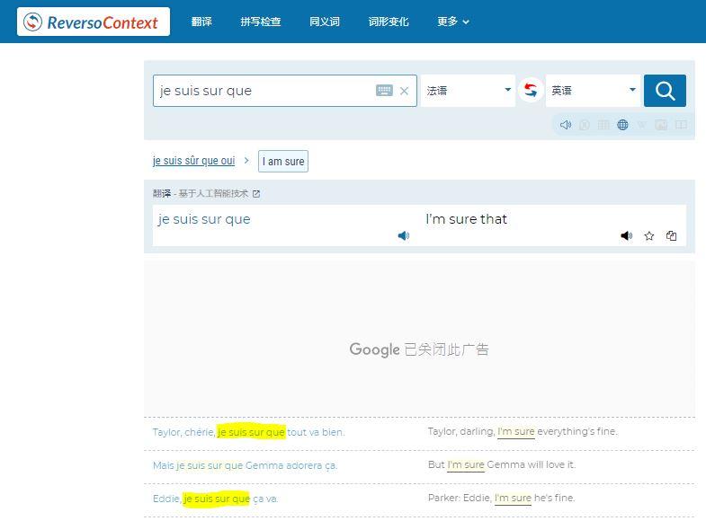 翻譯字典reverso context