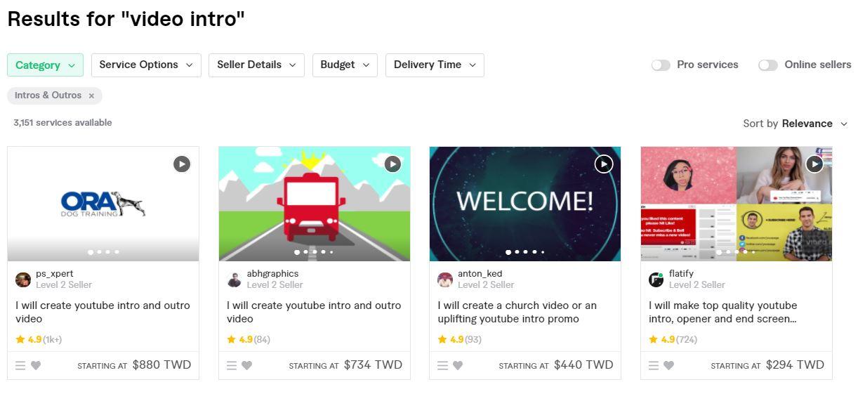 Fiverr接案 video intro