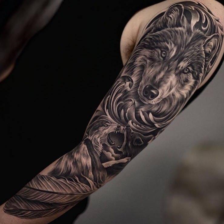 tatuaje-de-lobo-en-brazo