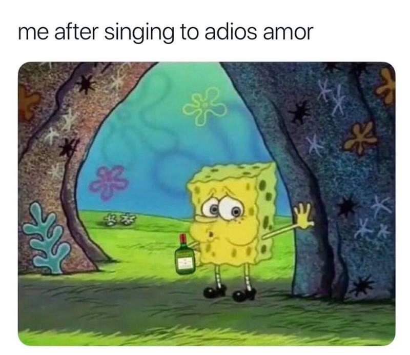 Me after singing to adios amor...