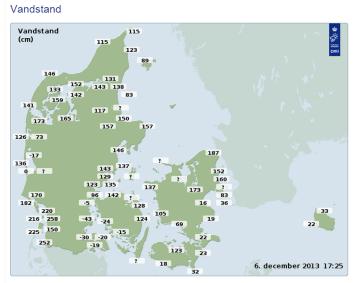 Vandstand Danmarkskort
