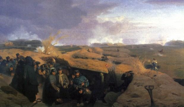 Dybbøl Skanse i april 1864. Maleri af Jøgen Valentin Sonne, 1871.