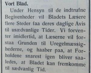 """Man måtte forvente at få sin daglige avis på """"usædvanlige tider"""". Holbæk Amts Socialdemokrat, 10. april 1940."""