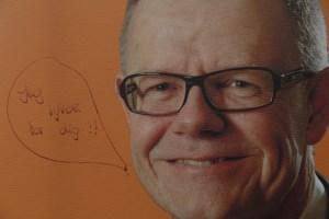 """""""Jeg lyver for dig!"""" har en eller anden skrevet på en Kenny Jensby (Liberal Alliance) plakat. Foto: Rolf Larsen."""