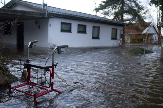 Flere sommerhus i Kisserup blev oversvømmet, da vandet i Isefjorden steg. Foto: Michael Johannessen.