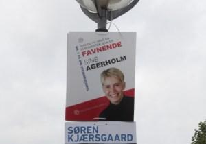 Det var kun Sine Agerholm, som prydede Socialdemokraternes valgplakater. Foto: Rolf Larsen.
