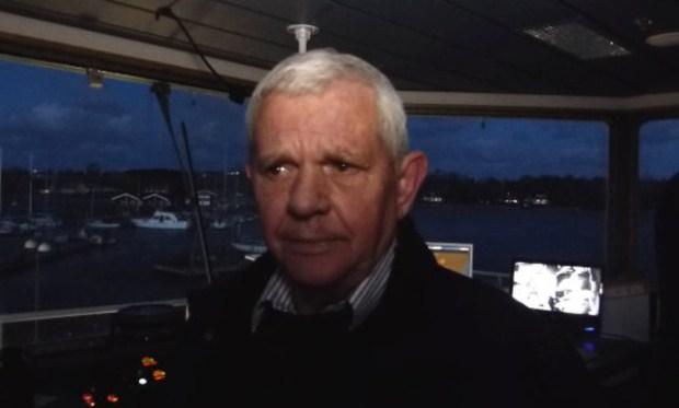 Torben Nielsen var skipper om bord på Orøfærgen  da den måtte indstille sejladsen p.g.a. den kraftige storm. Foto: Jesper von Staffeldt.