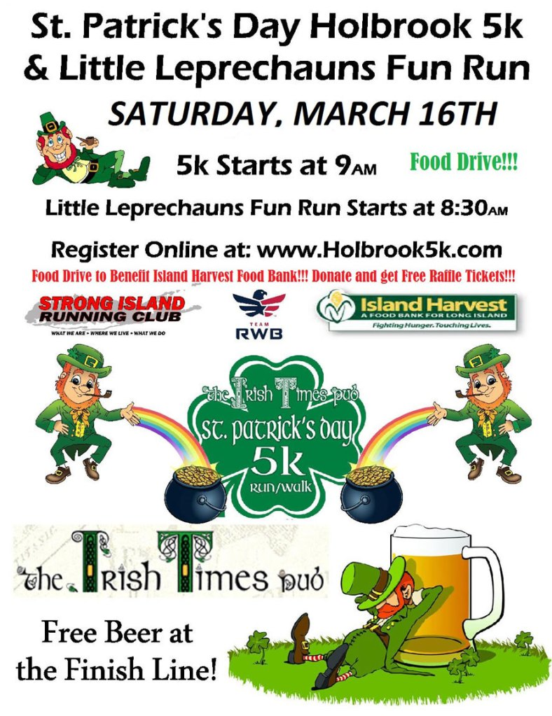 St. Patrick's Day Holbrook 5k & Little Leprechauns Fun Run