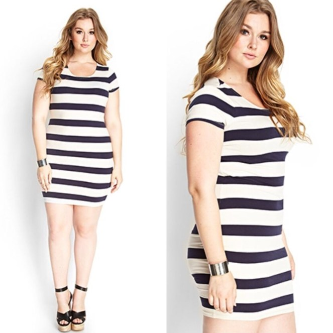 Stripes! Most people hate them. I love them! Black and white bodycon. Curve fitting.
