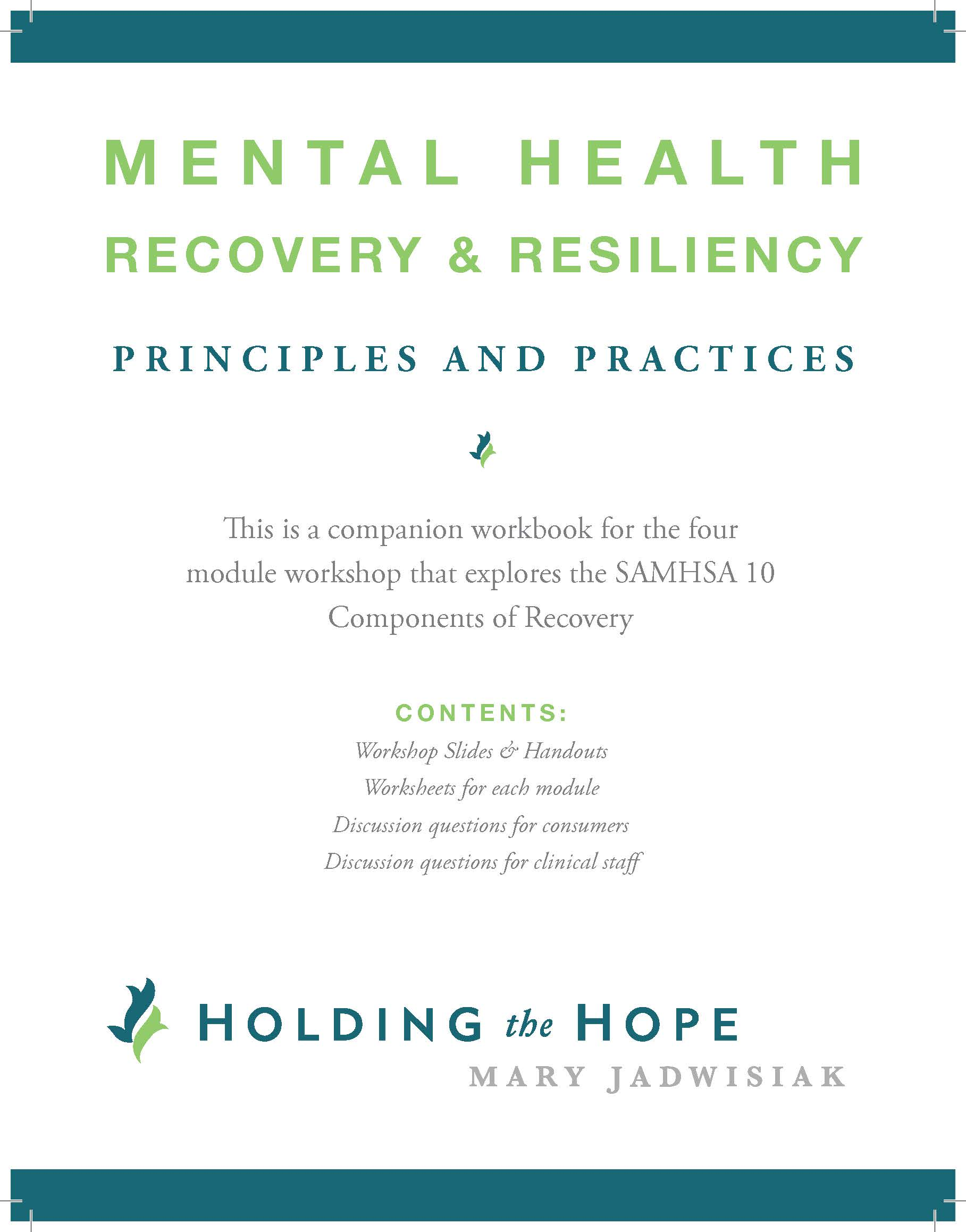 Mh Recovery Amp Resiliency Principles And Practices Workbook