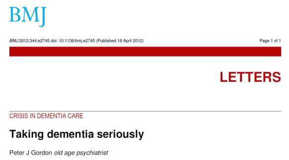 Taking dementia seriously