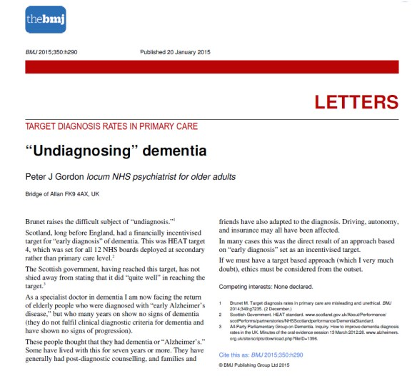 Undiagnosing dementia 20 Jan 2015, BMJ, Peter