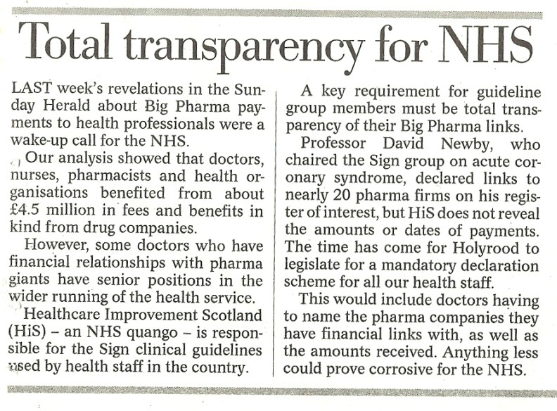 Herald Leader, 31 July 2016, Total transparency for the NHS