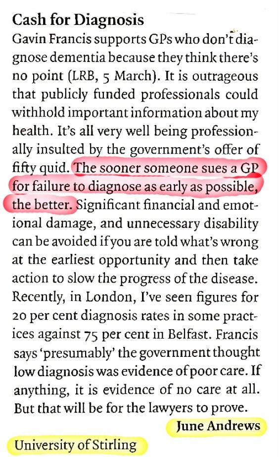 LRB - cash for diagnoses - June Andrews